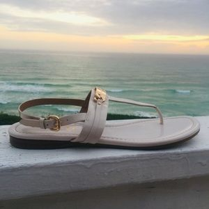 Coach Caterine patent white leather T strap flats